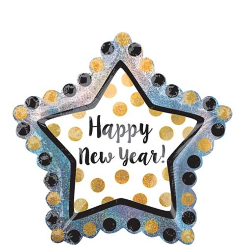 Giant Black, Gold, & Silver Star New Year's Balloon, 36-in