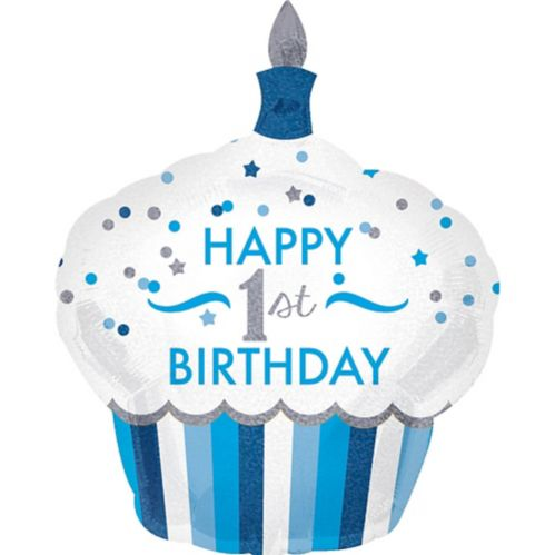 1st Birthday Blue Cupcake Balloon