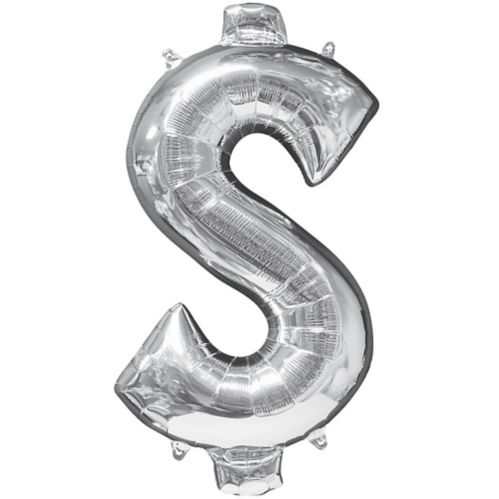 Giant Silver Money Symbol Balloon, 21-in