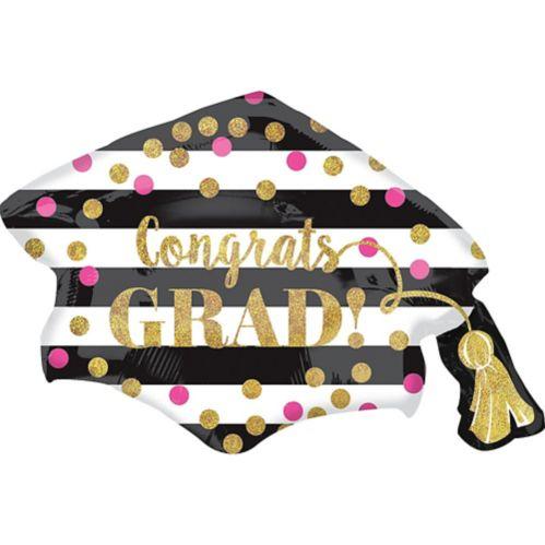 Giant Prismatic Confetti Grad Cap Graduation Balloon, 31-in
