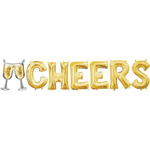 Air-Filled Champagne Glass & Cheers Letter Balloon Kit, Gold, 7-pc