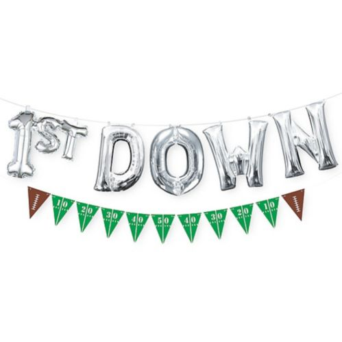 Air-Filled 1st Down Letter Balloons with Football Pennant Banner, 7-pc