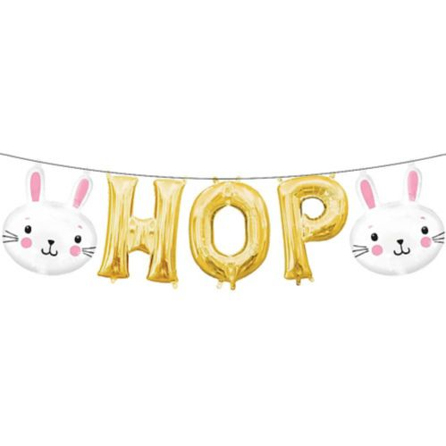 Air-Filled Easter Bunny Hop Letter Balloons, 5-pc