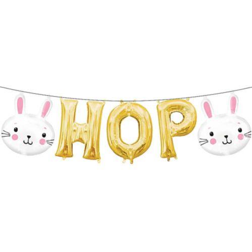 Ballons gonflés d'air lapins de Pâques/lettres Hop, paq. 5
