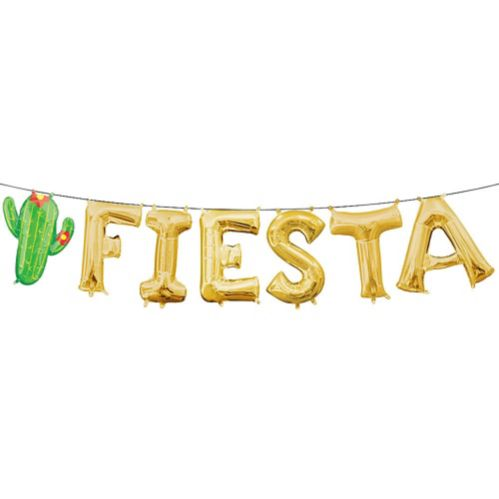 Air-Filled Fiesta Letter Balloons, Gold, 7-pc