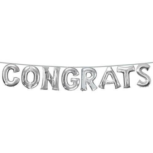 Air-Filled Congrats Letter Balloons, Silver, 8-pc