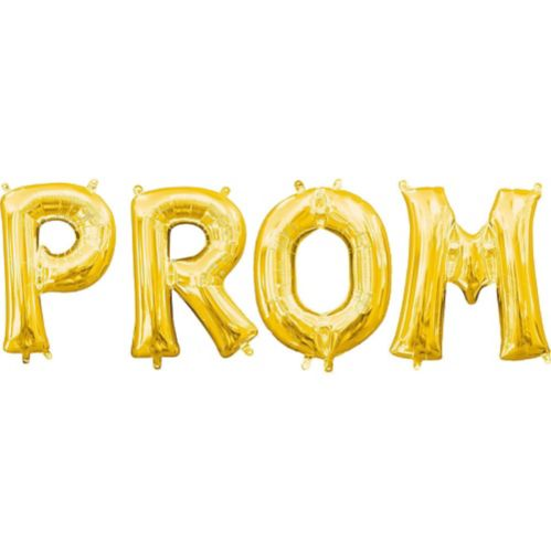 Air-Filled Prom Letter Balloon Kit, Gold, 13-in, 4-pc