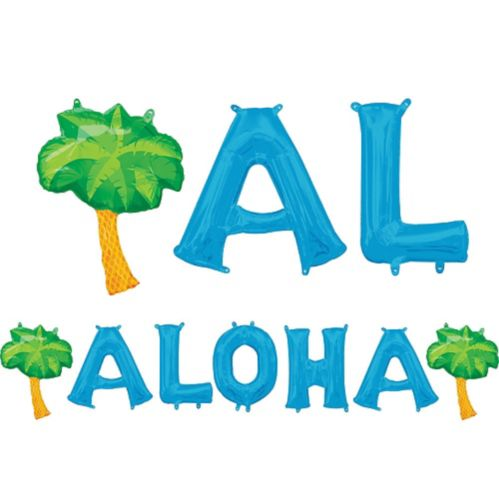 Air-Filled Blue Aloha Letter Balloons with Pennant Banner, 13-in Product image