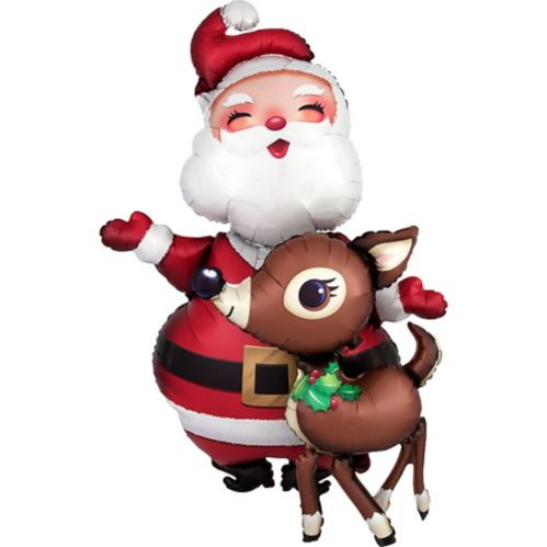 Santa and Reindeer Balloon, 48-in Product image
