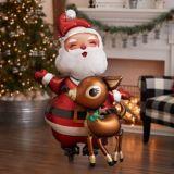 Santa and Reindeer Balloon, 48-in | Amscannull