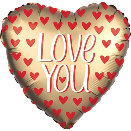Giant Gold Love You Satin Heart Balloon, 28-in