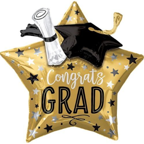 Giant 3D Congrats Grad Star Graduation Balloon, 28-in
