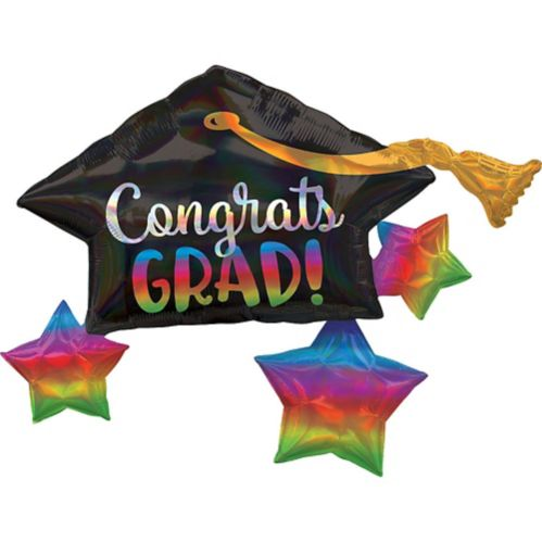 Giant Iridescent Mortarboard Graduation Balloon, 34-in