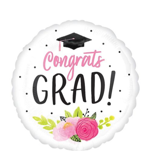 Giant Pink Floral Congrats Grad Balloon, 28-in