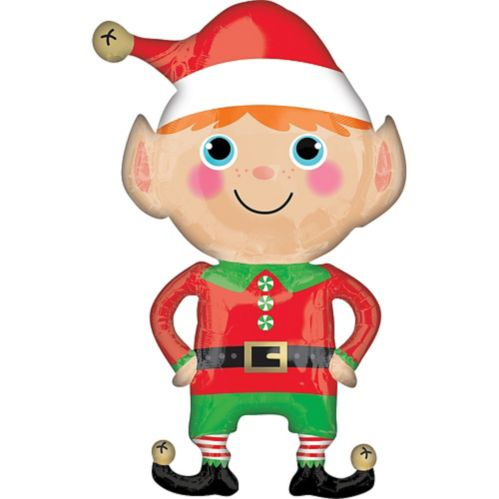 Happy Christmas Elf Balloon, 22-in