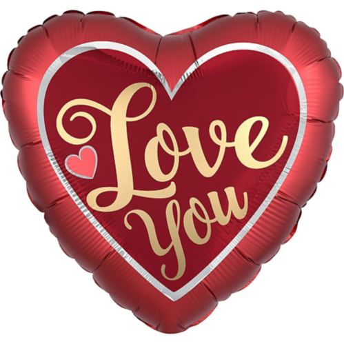 Giant Iridescent & Red Love You Heart Balloon, 28-in