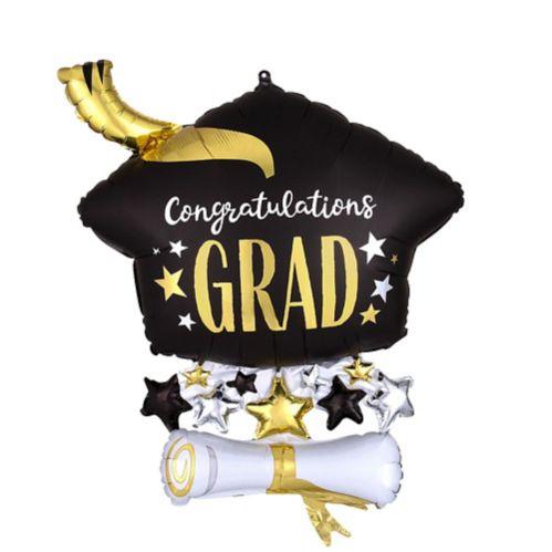 Satin Cap & Diploma Congrats Graduation Cluster Balloon, 25-in