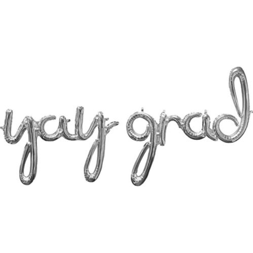 Silver Yay Grad Cursive Letter Balloon Phrase, 33-in, 2pc