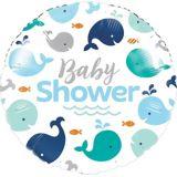 Blue Whale Baby Shower Mylar Balloon, 18-in, 10-pk