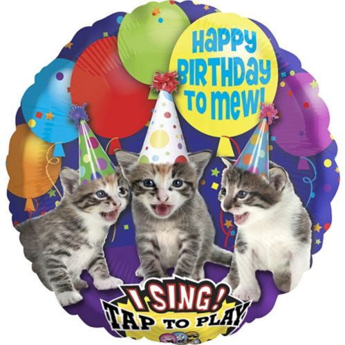 Singing Happy Birthday Kitten Balloon, 28-in Product image