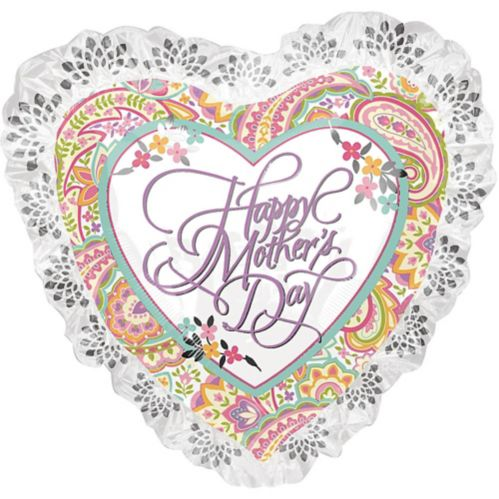 Giant Lace & Floral Mother's Day Heart Balloon, 28-in