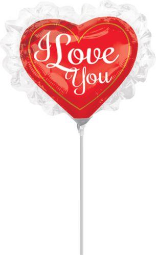 Love You Ruffle Air-Filled Mini Shape Balloon