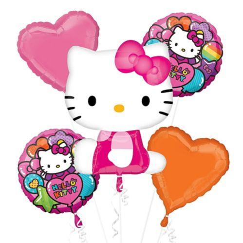 Rainbow Hello Kitty Balloon Bouquet, 5-pc