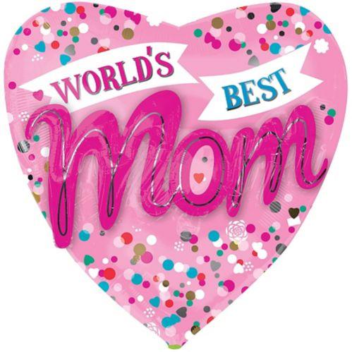 Ballon coeur pour fête des Mères, World's Best Mom, 18 po