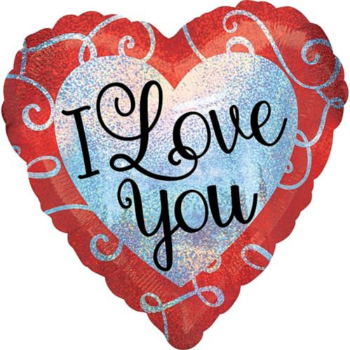 Ballon en coeur de Saint-Valentin, I Love You, prismatique, 18 po