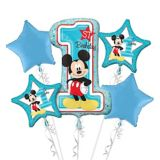 1st Birthday Mickey Mouse Balloon Bouquet, 5-pc | Amscannull