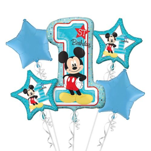 1st Birthday Mickey Mouse Balloon Bouquet, 5-pc