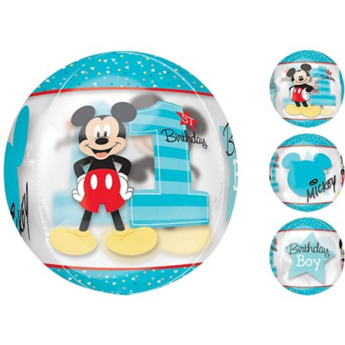 See Thru Orbz 1st Birthday Mickey Mouse Balloon