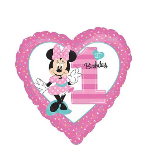 1st Birthday Minnie Mouse Heart Balloon