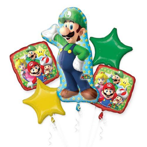 Super Mario Giant Luigi Birthday Balloon Bouquet, 5-pc
