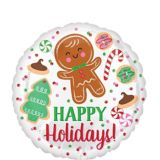 Ballon à motif de biscuits, Happy Holidays, 17 po | Amscannull