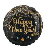 Dots & Stars Happy New Year Balloon, Black/Gold/Silver, 18-in | Amscannull