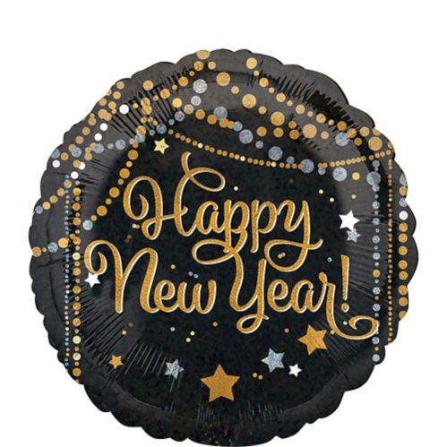 Dots & Stars Happy New Year Balloon, Black/Gold/Silver, 18-in