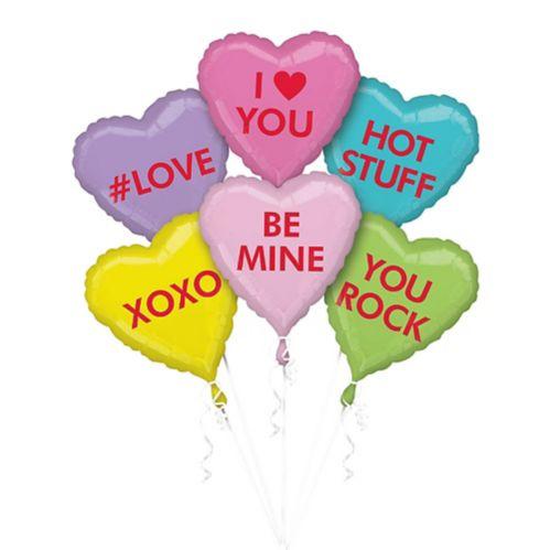 Ballons en forme de coeur avec messages, pastel, paq. 6