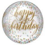 Ballon Orbz transparent Happy Birthday à confettis | Amscannull