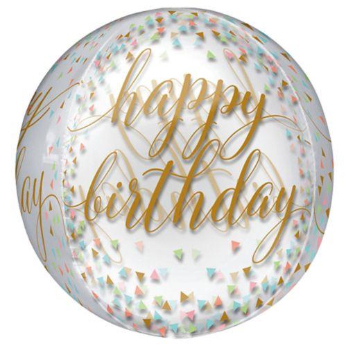 Ballon Orbz transparent Happy Birthday à confettis
