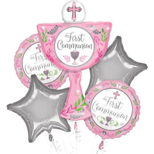 First Communion Balloon Bouquet, Pink, 5-pc