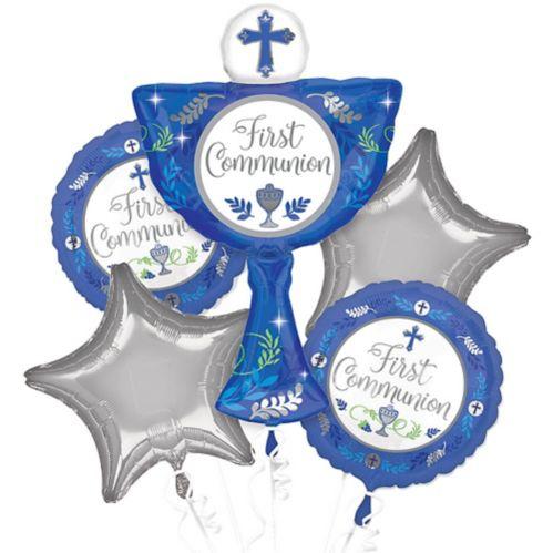 First Communion Balloon Bouquet, Blue, 5-pc