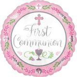 First Communion Balloon, Pink, 17-in | Amscannull