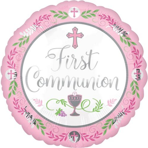 First Communion Balloon, Pink, 17-in