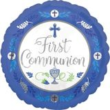 First Communion Balloon, Blue, 17-in | Amscannull