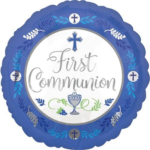 Ballon de première communion, bleu, 17 po