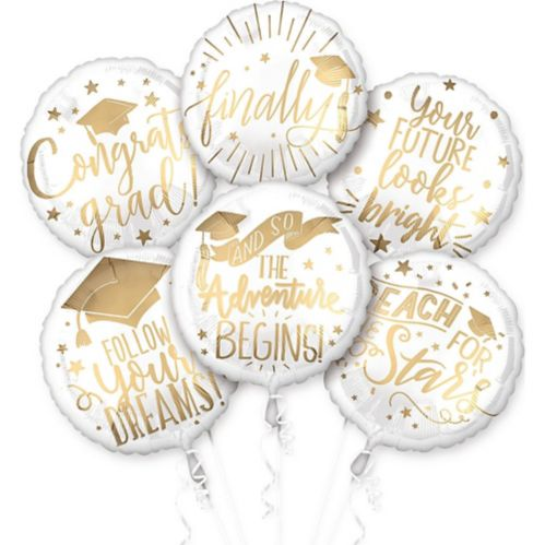 The Adventure Begins Balloons, White & Gold, 6-pk