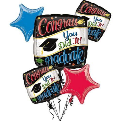 Colourful Congrats Graduate Balloon Bouquet, 6-pc