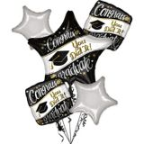 Congrats Graduate Balloon Bouquet, Black/White/Gold, 6-pc | Amscannull