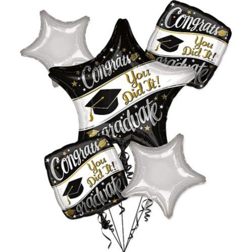 Congrats Graduate Balloon Bouquet, Black/White/Gold, 6-pc